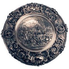 Sumptuous Sideboard Dish, Cast with a Cavalry Charge at Waterloo