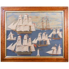 British Sailor's Large Woolwork Woolie with Seven Royal Navy Ships