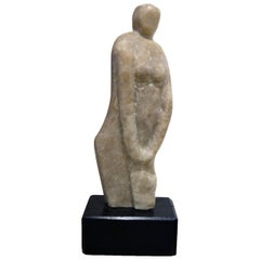 Vintage Abstract Marble Female Sculpture by Hyam Fink