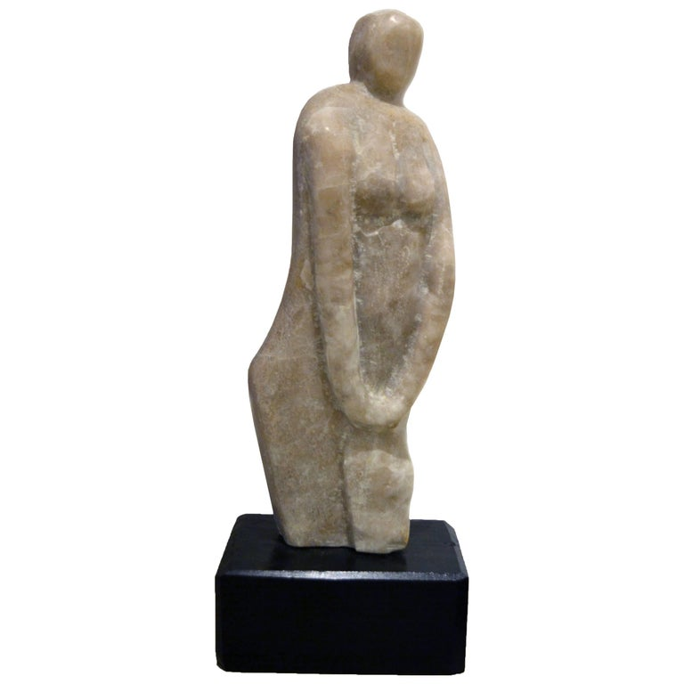 Vintage Abstract Marble Female Sculpture by Hyam Fink 1