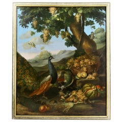 Large Flemish Oil on Canvas of Peacocks and Fruit in Landscape
