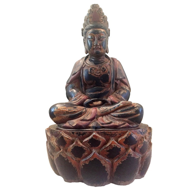 Huge Solid Wood Buddha Statue, Hand-Carved For Sale