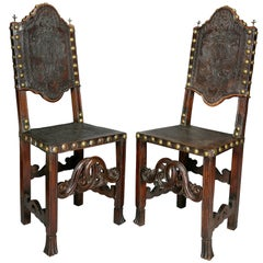 Pair of Portuguese Baroque Walnut Side Chairs
