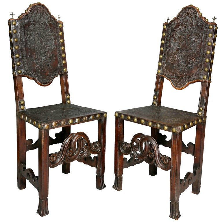 Pair of Portuguese Baroque Walnut Side Chairs For Sale