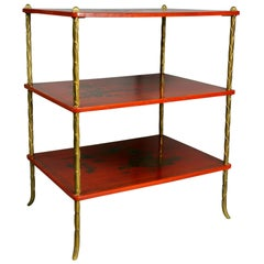 Bagues Style Chinoiserie Lacquered and Brass End Table