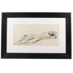 Mid-Century Ink Wash Drawing Lying Female Nude by Robert Cami, circa 1950s