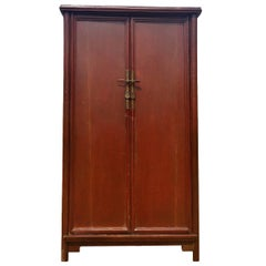 Antique Chinese Ming Style Noodle Cabinet, Rust Cinnabar Finish