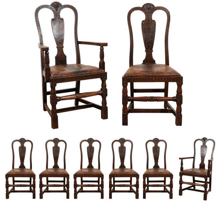 Set of Eight English Carved and Inlaid Oak Dining Chairs For Sale