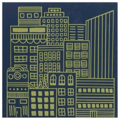 Doodle City Navy Blue and Gold Wallpaper from the Urban and Rural Collection