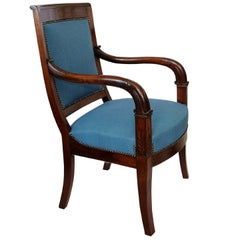 French Empire Napoleonic Period Mahogany Open Armchair, circa 1820