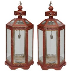 Pair of French Contemporary 18th Century Style Red Painted Hanging Lanterns