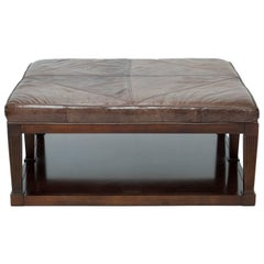 Sherrill Ottoman With Leather Top