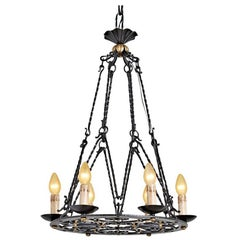 Ornate French Wrought Iron Six-Light Chandelier, circa 1920s