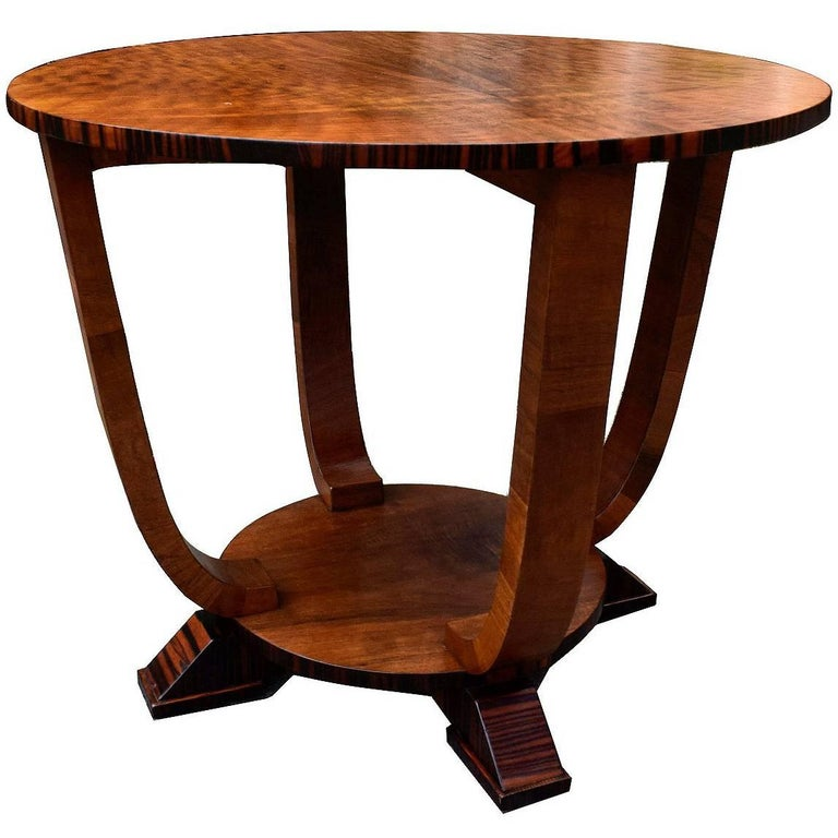 1930s Art Deco English Occasional Table in Macassar Ebony and Walnut