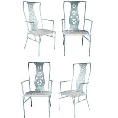"Set of Four Iron Armchairs in The Style of Salterini ""Montego"""