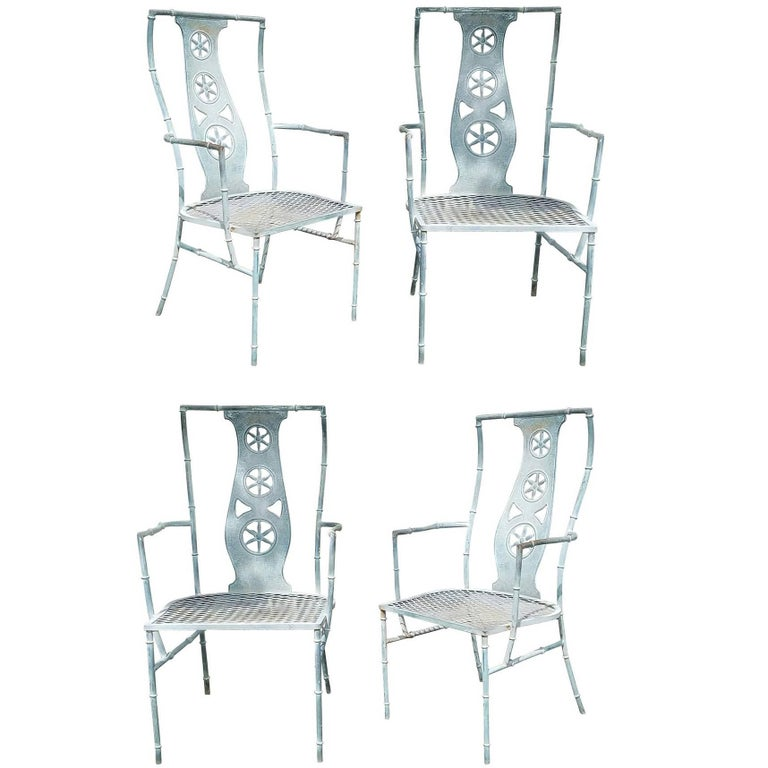 "Set of Four Iron Armchairs in The Style of Salterini ""Montego"" 1"