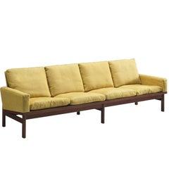 Danish Four Seat Sofa in Yellow Fabric