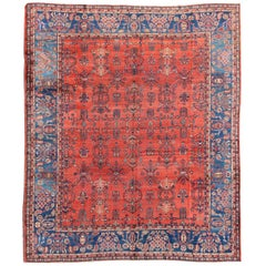 Square-Sized Antique Persian Sultanabad Rug in Terracotta Red and Medium Blue