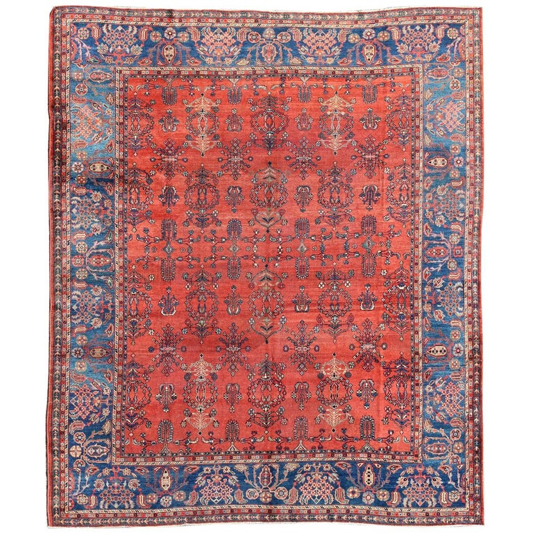 Antique Sultanabad Rug Square Size For Sale At 1stdibs