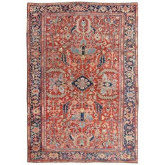 Antique Persian All-Over Serapi Rug in Rust, Blue, Green, Gold and Salmon