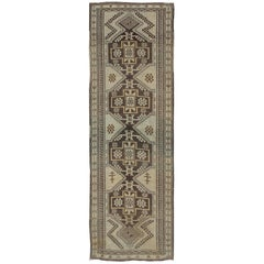Vintage Oushak Runner with Tribal Medallions and Motifs in Brown and Taupe