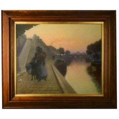 'The Quais of the Seine in Paris' Oil by French Artist Fuchs, Late 19th Century