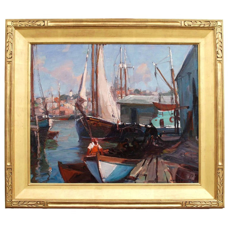 'Boats at Dock / A Gloucester View' Impressionist Marine Painting by Emile Grupp