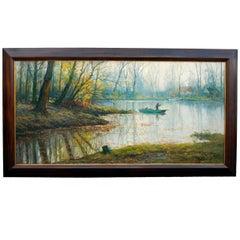 'Pêcheur Dans Un Étang Avec Des Chaumières' Dutch Landscape Painting by K Terlou