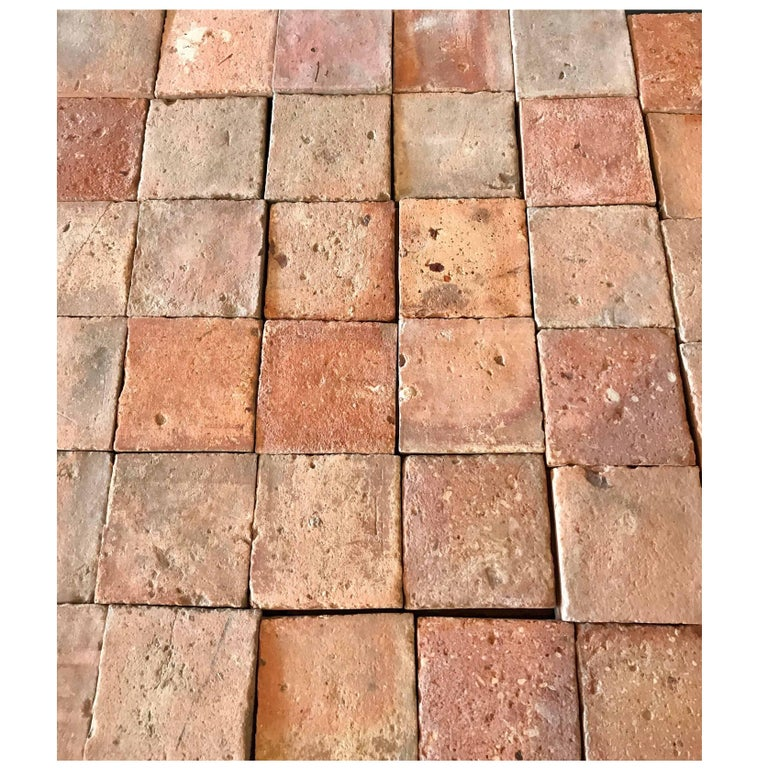 Antique Square Terracotta Tile Circa 1800s For
