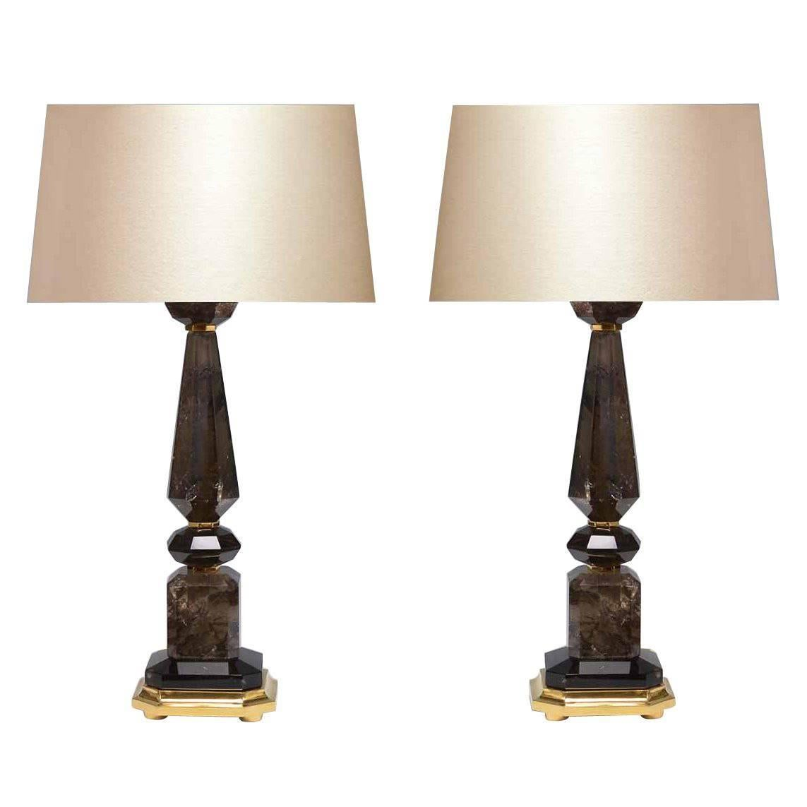 Pair of Modern Smoky Brown Rock Crystal Quartz Lamps