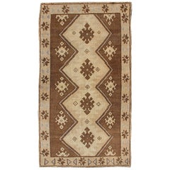 Vintage Turkish Oushak Rug with Vertical Diamond Medallions in Brown and Cream