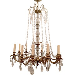 French Bronze and Rock Crystal Chandelier
