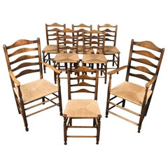 Set of Eight Antique Dining Chairs, English, Ladderbacks, Shaker, circa 1850