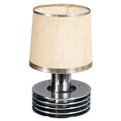 Minimalist Mid-Century Table Lamp in Chrome Steel Gaetano Sciolari Attributable