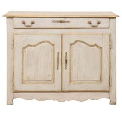 French Painted Wood Buffet in Pale Blue with Gold, Green and Beige Trim