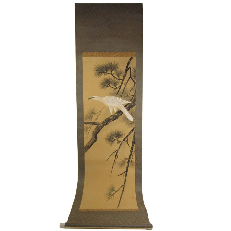 19th Century Japanese Hand-Painted White Hawk on a Branch Scroll