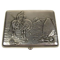 Russian Silver and Amethyst Cigarette Case