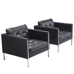 Pierre Paulin 442 Chairs in Black Faux Leather for Artifort