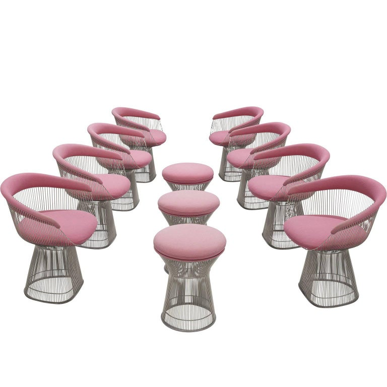Warren Platner Set of Eight Pink Lounge Chairs 1