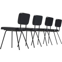 Pierre Guariche Set of Four Black Dining Chairs for Airborne