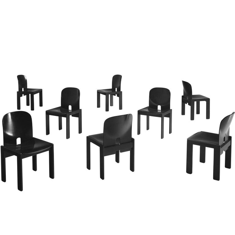 Afra and Tobia Scarpa Chairs in Black for Cassina 1