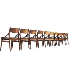Vestervig Erikson Ten Dining Chairs in Leather and Wood