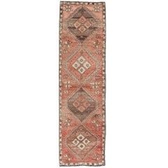 Geometric Vintage Turkish Oushak Runner with Medallions in Red and Brown