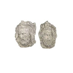 Pair of Italian Cast Stone Wall Face Mask Sculptures, 19th Century