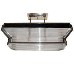 Large Art Deco Glass Rod Light Fixture
