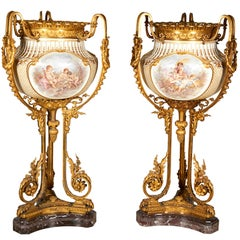 Important and Monumental Pair of Ormolu and Sèvres Style Porcelain Jardinieres