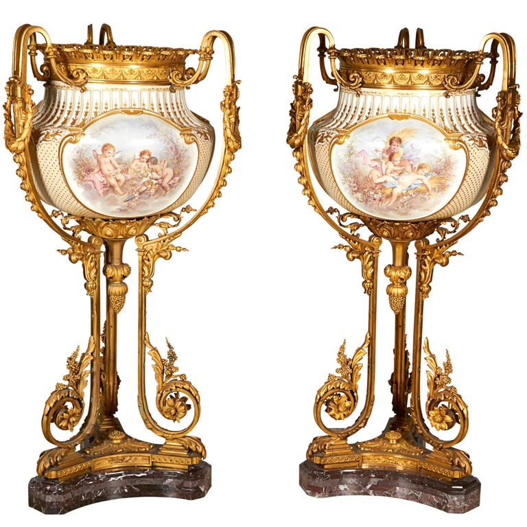Important and Monumental Pair of Ormolu and Sèvres Style Porcelain Jardinieres 1