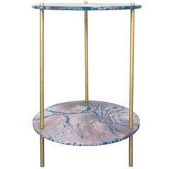 Ambrosia Accent Console Table, Concrete Oracle Pattern Disk with Brass Legs