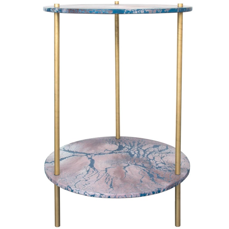Ambrosia Accent Console Table, Concrete Oracle Pattern Disk with Brass Legs For Sale