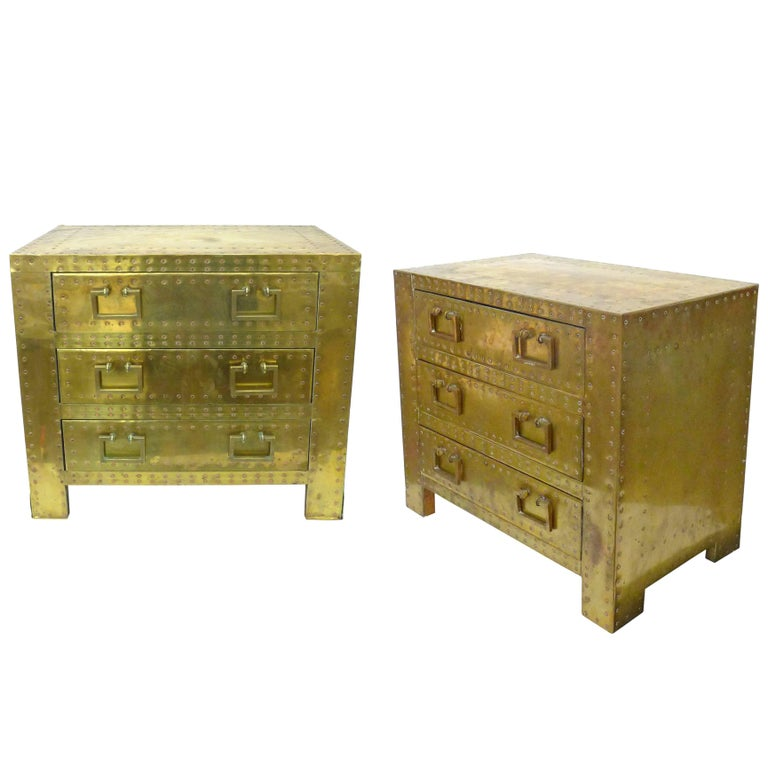 Pair of Brass Clad Chests or Side Tables by Sarried 1